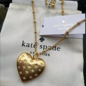 NWT Kate Spade Precious Heart Gold Locket Necklace